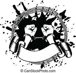 hands in handcuffs - Vector illustration hands in handcuffs