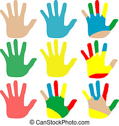 Vector illustration hands multicolored set isolated on white