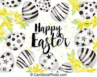 Vector illustration Happy Easter background. Top view of easter eggs. Decoration yellow flowers card Happy Easter. Golden Rain
