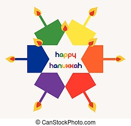 Vector Illustration - Happy hanukkah with colorful spinning tops and candles