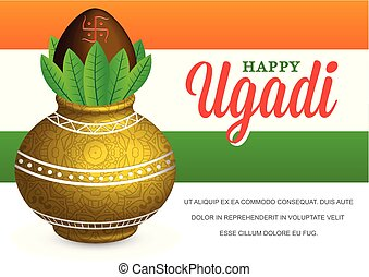Vector Illustration Happy Ugadi Celebration with Fictitious...