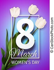 Happy Women's Day March 8 holiday greeting card