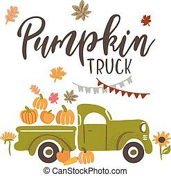 Vector Illustration, Harvest Truck with Pumpkins