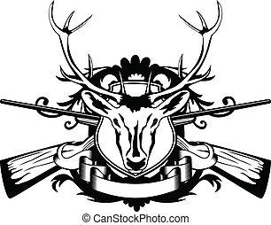 head artiodactyl and crossed guns - Vector illustration head...