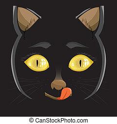 illustration. head of a black cat