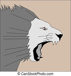 vector illustration head of a roaring lion in black and white tones with a red eye on a light brown background