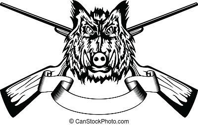 Vector illustration head wild boar and crossed guns