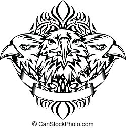 eagles and patterns - Vector illustration heads eagles and...