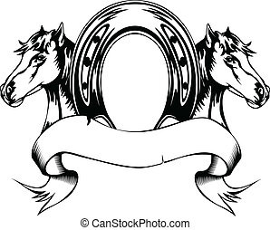 Vector illustration heads horses and horse shoe