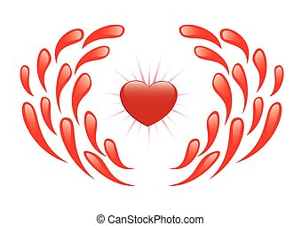 vector illustration - heart and drops of blood