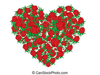 Vector illustration heart from red roses
