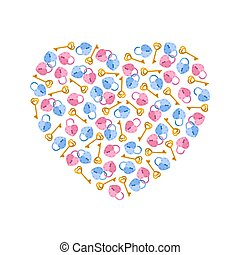 Vector illustration heart of padlocks, keys in heart shape. Greeting invitation card for saint Valentine day, wedding day