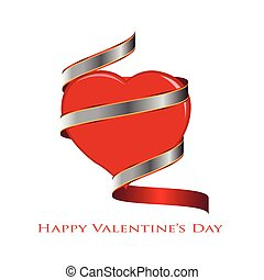 Heart with a ribbon wrapped around it