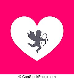 vector illustration. heart with cupid on a pink background. Cupid with bow and arrow. greeting card for Valentine's Day. love.