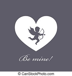 vector illustration. heart with cupid on a grey background. Cupid with bow and arrow. greeting card for Valentine s Day. love.