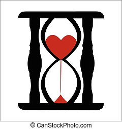 Hearts in Sand Clock - Vector illustration - Hearts in Sand...