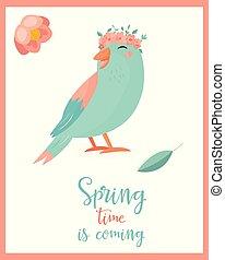 Vector illustration. Hello spring bird