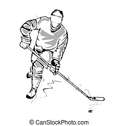 Vector illustration : Hockey player-sketch on a white background.