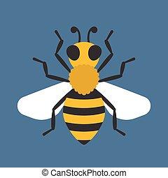 Vector illustration honey bee, Bee icon