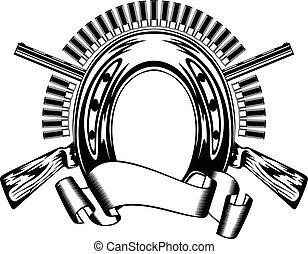 horseshoe and crossed shotguns