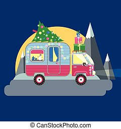 Vector illustration. House on wheels. Christmas car trailer with