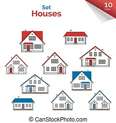 House projects in white, red, grey and blue colors.