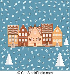 Vector illustration houses in the snow. Design element for...