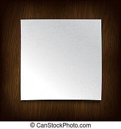 vector, illustration., houten, wall., papier, witte