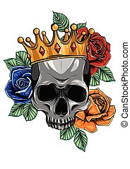 Vector illustration human death skull in crown with roses