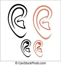 Human ear - Vector illustration : Human ear on a white...