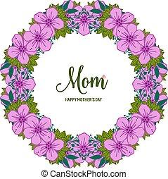 Vector illustration i love you mom for beauty purple flower frame