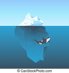 Vector illustration iceberg in the sea and killer whale