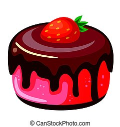Vector illustration, icon decorative cake with strawberries and chocolate isolated on a white