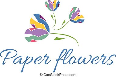 Vector illustration icon of color paper flowers