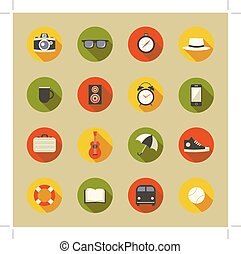 Vector illustration icon set: camera, glasses, compass, hat, drink, music, clock, phone, bag, guitar, umbrella, shoes, life preserver, book, bus and tennis ball