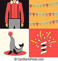 Vector illustration icon set of circus