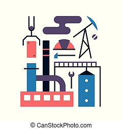 Vector illustration icon set of factory