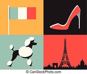 Vector illustration icon set of France: flag, fashion, dog, Paris