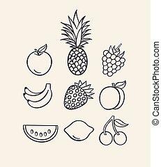 Vector illustration icon set of fruit: apple, pineapple, raspberry, banana, strawberry, peach, watermelon, lemon, cherry