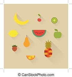 Vector illustration icon set of fruits: banana, cherry, kiwi, lemon, watermelon, apple, pear, strawberry, orange and pineapple
