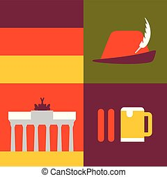 Vector illustration icon set of Germany: flag, hat, monument, sausage, beer