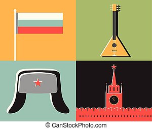 Vector illustration icon set of Germany: flag, sausage, beer, monument, hat