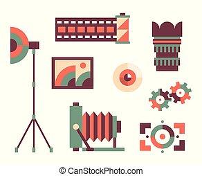 Vector illustration icon set of photo: camera, lens, eye, focus, film, umbrella