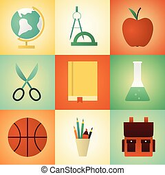 Vector illustration icon set of school