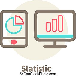 vector illustration icons of optimization, programming process and web analytics elements