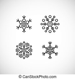 Vector illustration. Icons set of black snowflakes.