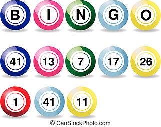 Vector illustration - set of coloured bingo balls on a white...