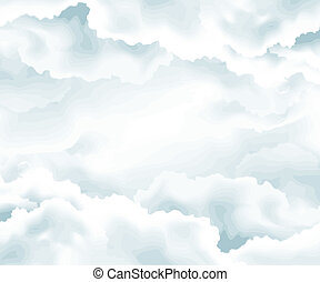 Vector illustration - clouds background , open sky , raining...