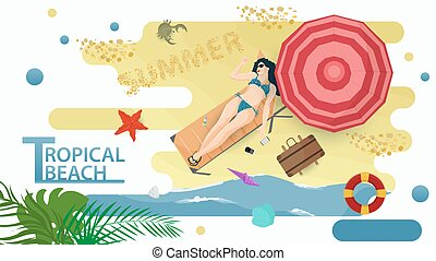 Vector illustration in a flat style on the theme of summer holidays and vacations on the shore of a tropical beach A girl in a bikini swimsuit lies on a sun lounger under an umbrella on the seashore