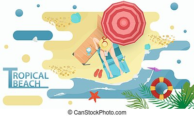 Vector illustration in a flat style on the theme of summer holidays and vacations on the shore of a tropical beach A girl with a phone sits next to a chaise longue on a mat on the beach